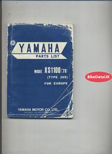 Yamaha XS1100 (1978 >>) Factory Parts List Catalog Book Manual XS 1100 XS11 DV03