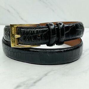 Ralph Lauren Vintage Black Croc Embossed Genuine Leather Belt Size Large 32