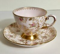 Vintage Tuscan English Bone China Pink and White Roses Tea Cup and Saucer Set,