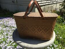 New listing Vintage Red-Man Wicker Picnic Basket With Metal Handles