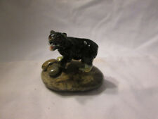 Vintage Bone China Black Bear On Smooth Rock Figurine Paperweight
