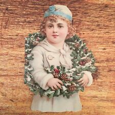 Set of 12 Victorian Girl with Holiday Wreath Die Cut Christmas Greeting Cards
