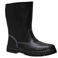 MENS LEATHER WATERPROOF RIGGER SAFETY STEEL TOE CAP WORK BLACK BOOTS SZ 6-12