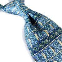 HERMES Mens 100% Silk Necktie Made In France Floral 7718 OA Blue Green 3.75W 57L