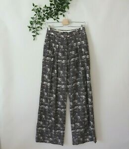 J.Crew Women's Lined Wide Leg High Rise Printed Silk Pants Size 0