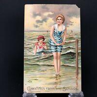 1900s Antique Bathing Beauty Postcard Beach Woman Vtg Pre Flapper Raphael Tuck