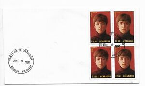 NICARAGUA 1995 JOHN LENNON MUSIC THE BEATLES BLOCK OF FOUR ON FIRST DAY COVER