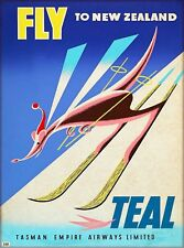 Fly to New Zealand Teal Vintage Airline Travel Advertisement Art Poster Print