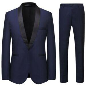 Men's Formal Dress Suit 3PCS Blazer Jacket Pants Vest Tuxedo Groom Business Prom