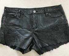Black NYC Black Faux Leather Embroidered Cut Out Mini Shorts Size 29
