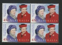 Australia 1999 : QEII and the Queen Mother, Block of 4 x 45c Decimal Stamps, MNH