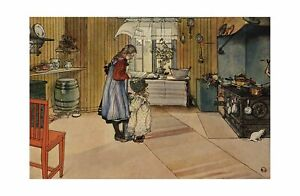 Carl Larsson - In the kitchen / Two girls making butter 1910 Print 61x91.5cm