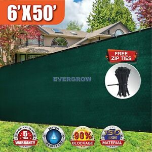Free Zip Ties 6' x 50' feet Dark Green Fence Privacy Screen Mesh Fabric Garden