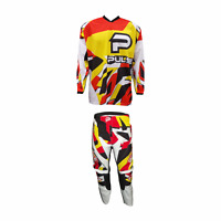 PULSE STORM YELLOW & RED MOTOCROSS MX ENDURO QUAD BMX MTB KIT + FREE SOCKS