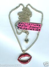 Betsey Johnson Lucious Ruby Red Enamel & Crystal Lips Extra Long Necklace