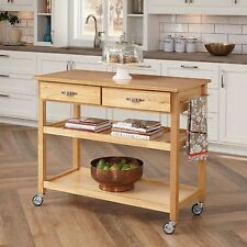 Home Styles Solid Wood Top Kitchen Cart In Natural Finish, 5216 95 New
