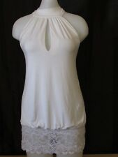 Guess Jeans White Medium Halter Top with Bottom Lace