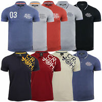 Mens Pique Polo T Shirt Crosshatch Tennyson Top Cotton Short Sleeved Summer New