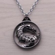 DZ1070 □ Game Mortal Kombat Dragon logo Metal Pendant Chain Necklace ~silver