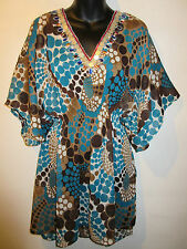 Top Fits XL 1X 2X 3X Plus Brown Blue Tunic Sequins Batwing Sleeves Semi Sheer 63