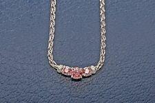 "Designer 1.50ct Genuine PINK Diamond Platinum 16"" Dinner Necklace RARE"