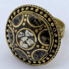 Black White Howlite Brass Ring 10 Tibetan Nepalese Handmade Tibet Nepal RG73