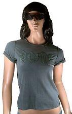 Amplified AC/DC ACDC LOGO STRASS Rock Star Vintage buchi Designer T-Shirt G. xs