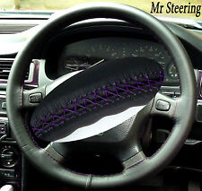 FOR LAND ROVER FREELANDER MK1 REAL LEATHER STEERING WHEEL COVER PURPLE STITCHING
