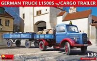 Miniart 38023 - 1/35 German Truck L1500S W/Cargo trailer model Miniatures kit UK