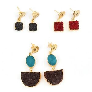 Sale ! Natural Agate Druzy Gold Plated Handmade Stud Earrings For Girls 3 Pairs