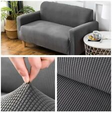 "Stretchable, elastic sofa cover - 3-seat sofa/pure gray - 76""-91"" (195-230cm)"