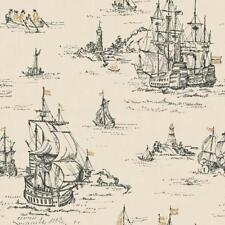 Wallpaper Designer Black and Gold Clipper Sailing Ships on Cream Faux