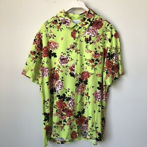 Urban Outfitters L Floral Short Sleeve Shirt Lime Green Button Down Collared