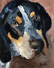 Bluetick Coonhound Dog Art Print Signed by Artist Ron Krajewski 8x10