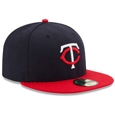 New Era 5950 MINNESOTA TWINS Road Blue Red Cap 5950 Fitted MLB Baseball Navy Hat
