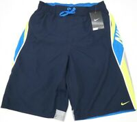 NWT $54 NIKE Swim Suit Trunks Mens Navy Blue Yellow Sheds Water Swoosh Logo NEW