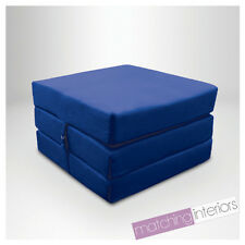 Blue 100% Cotton Fold Out Single Z Bed Cube Guest Futon Chair Bed Budget Studio