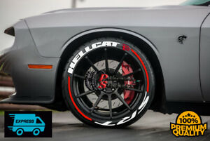 "Permanent Tire Lettering Stickers HELLCAT  SRT STRIPES 16""-22""FOR4 Tires 1.25"""