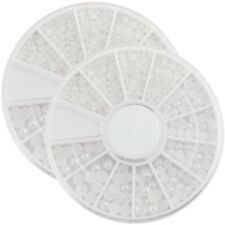 2 Wheels x Nail Art Pure White Pearl 3 Sizes 1.5-2.0-3.0mm Rhinestone (3020Ax2)