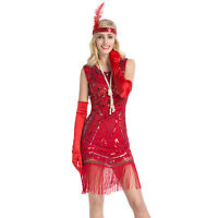 Women 1920s Sequin Beaded Fringe Great Gatsby Cocktail Party Dance Flapper Dress