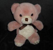 "8"" VINTAGE MAUVE & CREME BABY TEDDY BEAR STUFFED ANIMAL PLUSH TOY LOVEY W/ BOW"