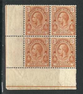 Turks & Caicos Is Stamps 438 1/ Brn Orange Block MNH VF 1921 SCV
