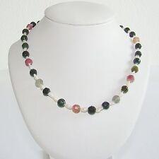 Halskette Biwaperlen facetierte Turmaline Perlenkette Silberschloß