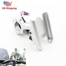 Motorcycle Silver Cell Phone Handlebar Mount Holder w/USB Charger for Smartphone