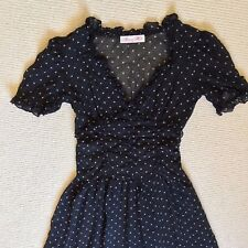 Alannah Hill dress size 6 Black beige  silk polka dot short sleeve party event