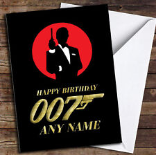 James Bond 007 Gold Personalised Birthday Card