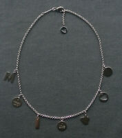 """STERLING SILVER CHARMS CHOKER NECKLACE 15""""  925 SOLID"""