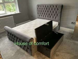 New Design Grey Plush Velvet Sleigh bed frame + Matching storage box + Mattress