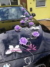 purple roses and white rattan , flower wedding car decoration kit (RFMI)