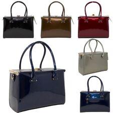 New Retro Box Design Faux Patent Leather Women's Tote Shoulder Bag